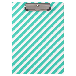 Teal and White Diagonal Stripes Pattern Clipboard