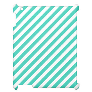 Teal and White Diagonal Stripes Pattern Cover For The iPad