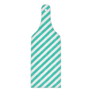 Teal and White Diagonal Stripes Pattern Cutting Board
