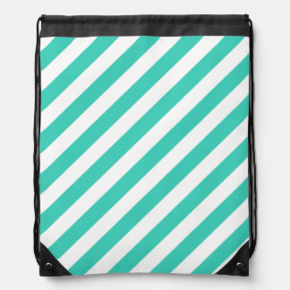 Teal and White Diagonal Stripes Pattern Drawstring Bag