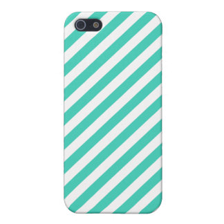 Teal and White Diagonal Stripes Pattern iPhone 5/5S Covers