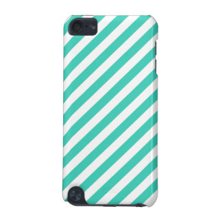 Teal and White Diagonal Stripes Pattern iPod Touch 5G Covers