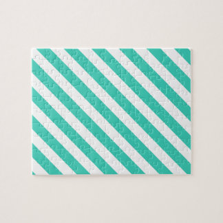 Teal and White Diagonal Stripes Pattern Jigsaw Puzzle