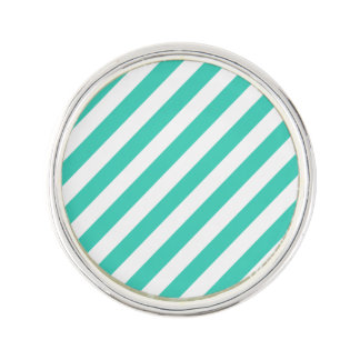Teal and White Diagonal Stripes Pattern Lapel Pin