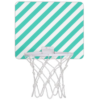 Teal and White Diagonal Stripes Pattern Mini Basketball Hoop