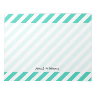 Teal and White Diagonal Stripes Pattern Notepad