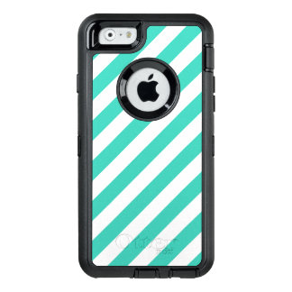 Teal and White Diagonal Stripes Pattern OtterBox Defender iPhone Case