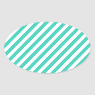 Teal and White Diagonal Stripes Pattern Oval Sticker
