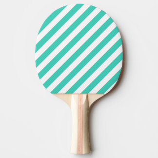 Teal and White Diagonal Stripes Pattern Ping Pong Paddle