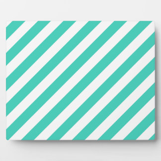 Teal and White Diagonal Stripes Pattern Plaque