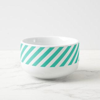 Teal and White Diagonal Stripes Pattern Soup Mug