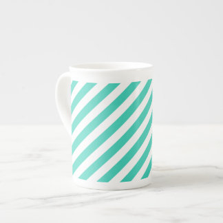 Teal and White Diagonal Stripes Pattern Tea Cup