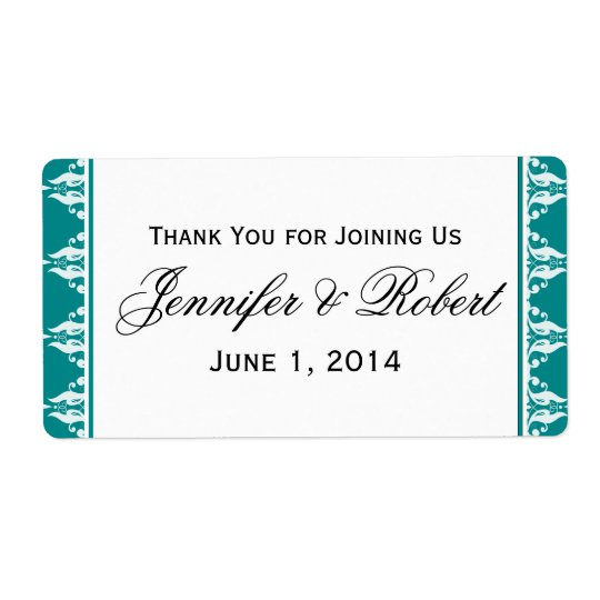 Teal and White Filigree Border Water Bottle Label