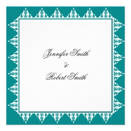 Teal and White Filigree Border Wedding Custom Invite