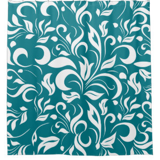 Teal And White Floral Pattern Shower Curtain