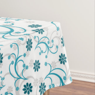 Teal And White Floral Tablecloth