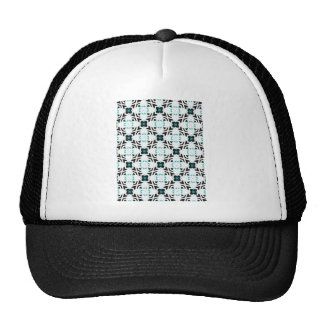 Teal and white flower design pattern cap