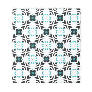 Teal and white flower design pattern notepad