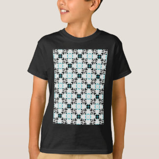 Teal and white flower design pattern T-Shirt