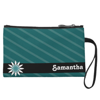 Teal and white flower monogram clutch wristlet clutches