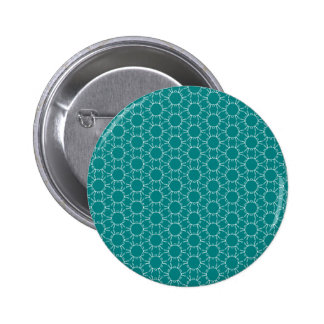 Teal and White Geometric Doodle Pattern Pinback Button