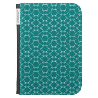 Teal and White Geometric Doodle Pattern Kindle Case