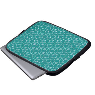 Teal and White Geometric Doodle Pattern Computer Sleeve