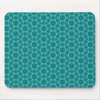 Teal and White Geometric Doodle Pattern Mousepad