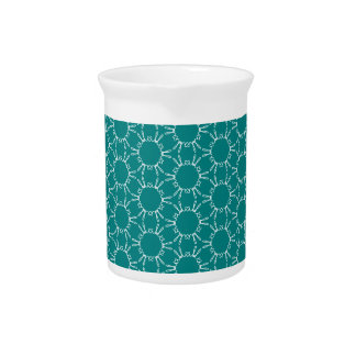 Teal and White Geometric Doodle Pattern Drink Pitchers