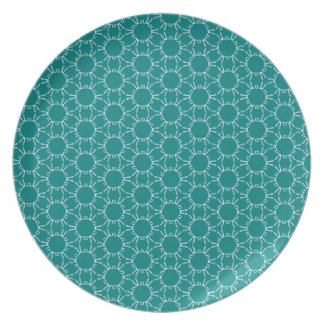 Teal and White Geometric Doodle Pattern Plate