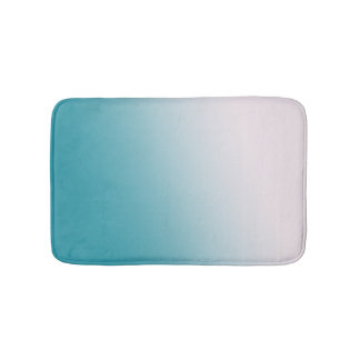 Teal and White Gradient Bath Mat