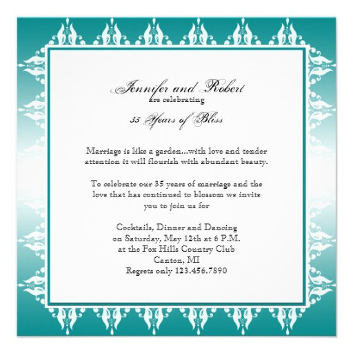 Teal and White Gradient Filigree Anniversary Personalized Announcement