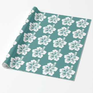 Teal and White Hibiscus Flower Wrapping Paper