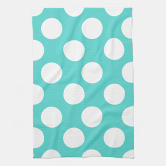Teal and White Large Polka Dot Kitchen Towel
