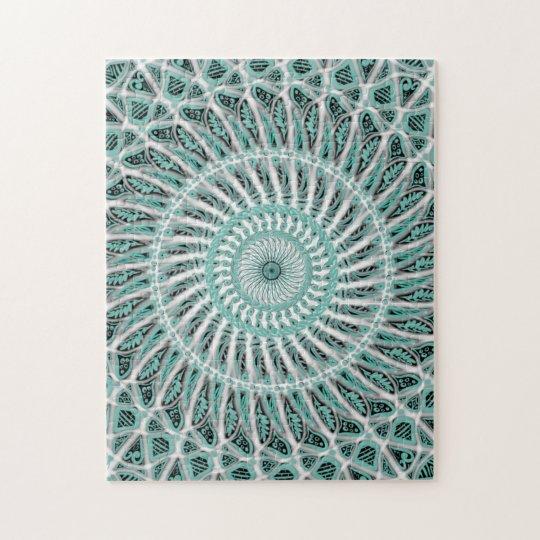 Teal and White Mandala Jigsaw Puzzle
