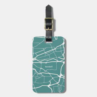 Teal and White Map Add Name Luggage Tag