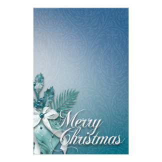 Teal and White Merry Christmas Ornaments Ribbons Stationery