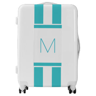 Teal and White, Monogram Luggage