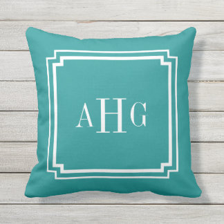 Teal and White Notched Corner Custom Monogram Outdoor Cushion