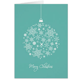 Teal and white ornament on Christmas card