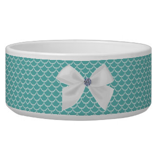Teal and White Ornate Pet Bowl