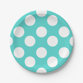 Teal and White Polka Dot Paper Plates 7 Inch Paper Plate