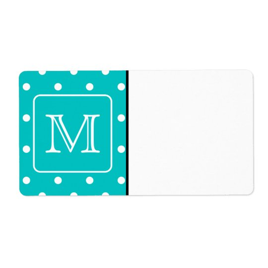 Teal and White Polka Dot Pattern. Custom Monogram.