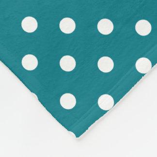 Teal And White Polka Dot Pattern Fleece Blanket