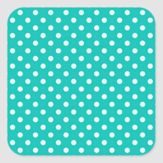 Teal and White Polka Dot Pattern Square Sticker