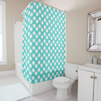 Teal and White Polka Dot Shower Curtain