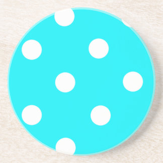 Teal And White Polka Dots Beverage Coaster