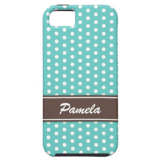Teal and white polka dots iPhone 5 case