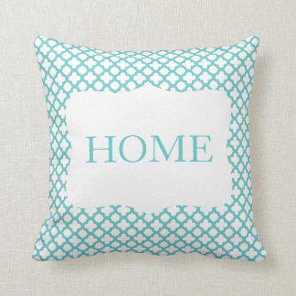 Teal and White Quatrefoil HOME Pillow