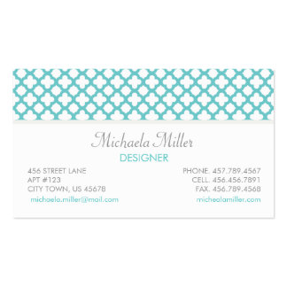 Teal and White Quatrefoil Pattern Business Card Template